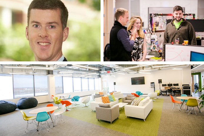 Photo collage of Greg Lord, SmartBear team, and office space