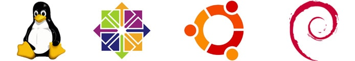 Logos of Linux, CentOS, Ubuntu, and Debian