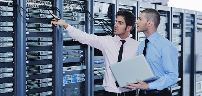 Server technicians working on hardware