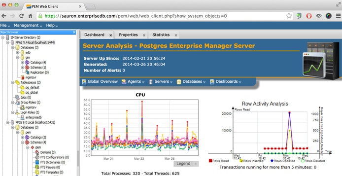 Screenshot of EnterpriseDB Postgres Enterprise Manager