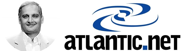 Photo of Marty Puranik and Atlantic.Net logo