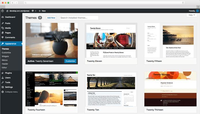 Screenshot of the WordPress UI