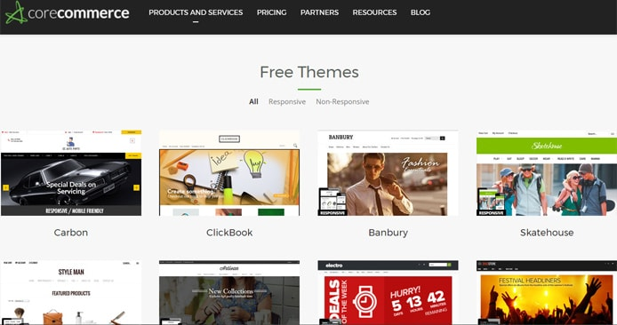 Screenshot of CoreCommerce website