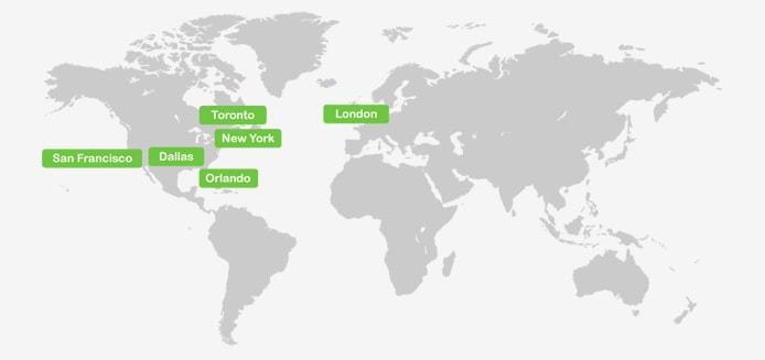 Map of Atlantic.Net datacenter locations