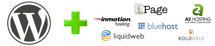 Collage of WordPress logo and multiple hosting provider logos