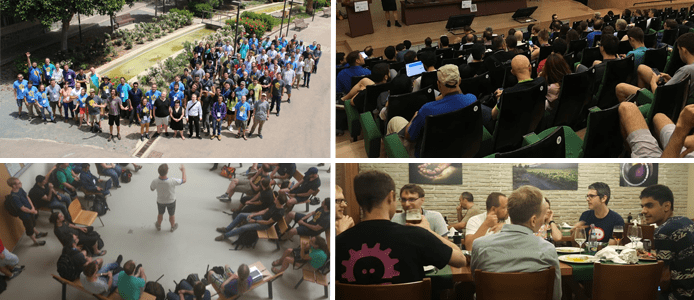 Collage of KDE community members at Akademy