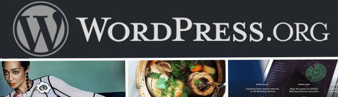 Collage of WordPress.org logo and screenshots of fashion, food, and business WordPress sites