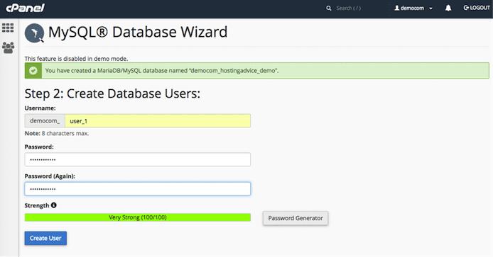 MySQL Database Wizard screenshot