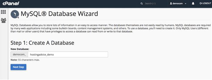 screenshot of MySQL Database Wizard