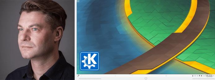Collage of Sebastian Kügler's headshot and the Plasma work environment