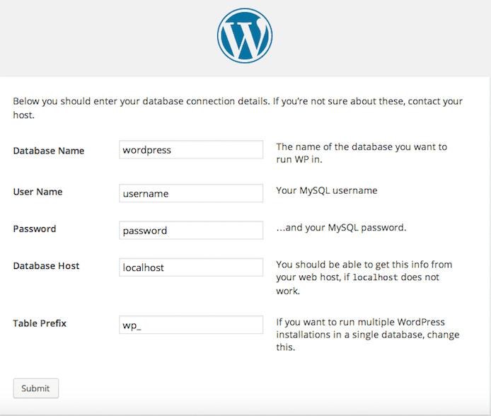 WordPress database instruction details screenshot