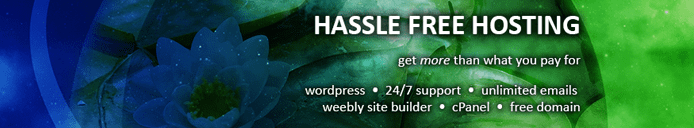 "Graphic listing the ""Hassle-Free Hosting"" tagline and features WebHostingPad offers businesses"
