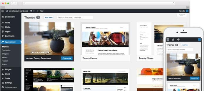 WordPress screenshots for desktop and mobile