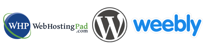 Collage of the WebHostingPad, WordPress, and Weebly logos