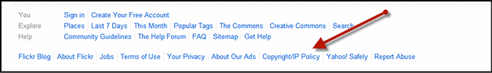 Copyright or IP Policy Screenshot