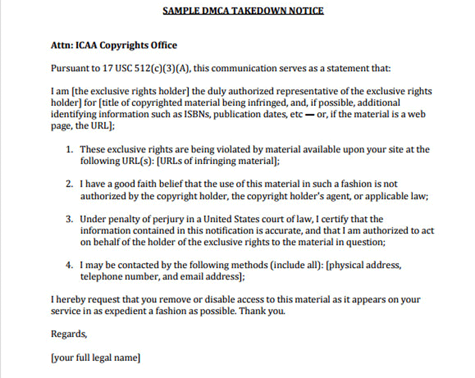 DMCA Takedown Notice Template