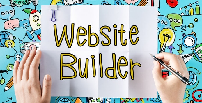 Website Builder text with hands and colorful illustrations