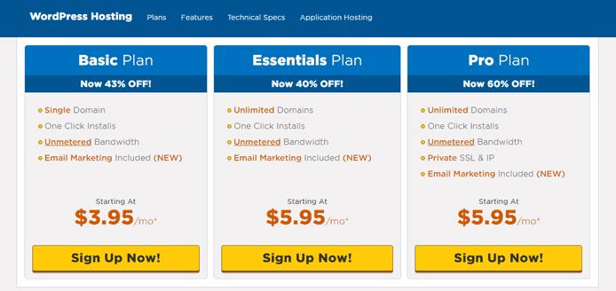 Screenshot of HostGator WordPress pricing tiers