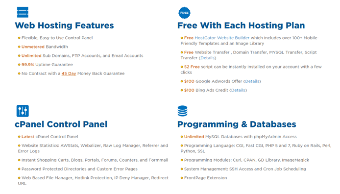 Screenshot of HostGator hosting features
