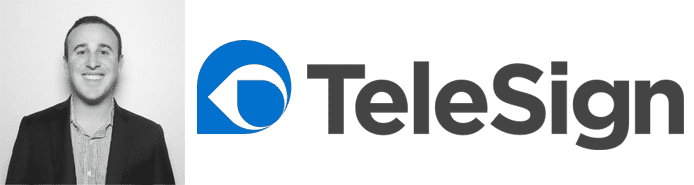 Ryan Disraeli's headshot and the TeleSign logo