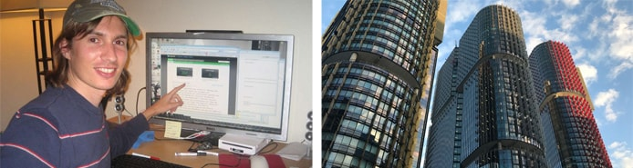 Image of BuiltWith Founder Gary Brewer in 2007 next to image of company headquarters today