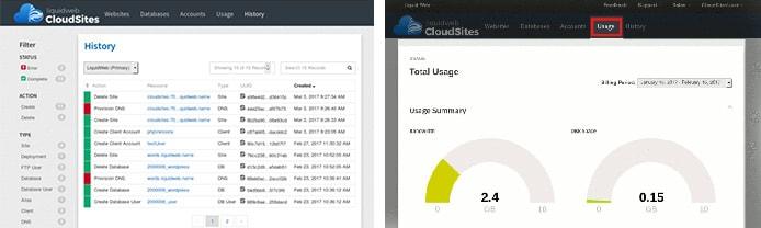 Screenshots of Liquid Web Cloud Sites dashboard