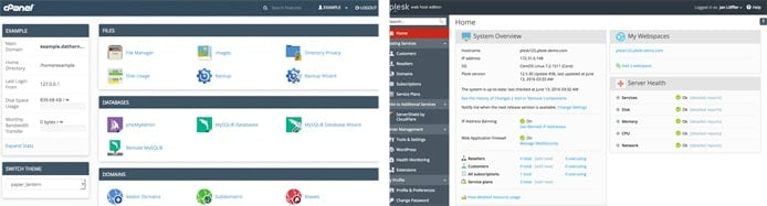 Screenshots of cPanel and Plesk control panels