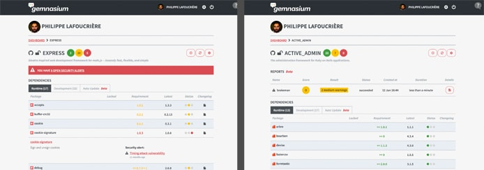 Screenshots of Gemnasium