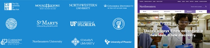 University logos with screenshot of Northwestern University's website