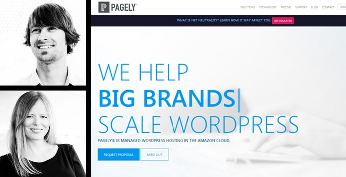 Images of Pagely Co-Founders Joshua and Sally Strebel with a screenshot of the Pagely website