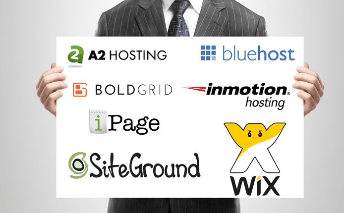 Photo of a man holding up a whiteboard with host logos