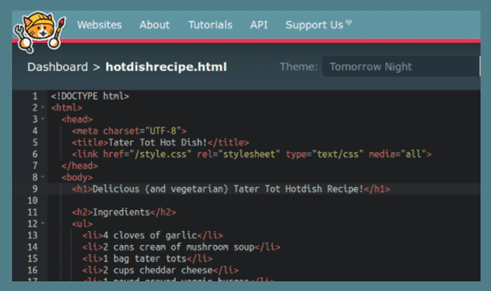 Screenshot of the Neocities HTML editor