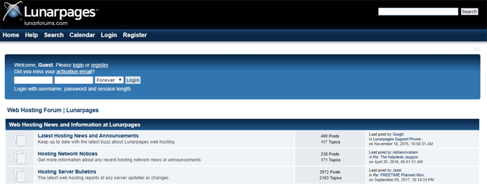 Screenshot of the Lunarpages forum