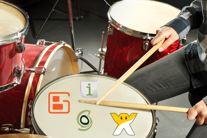 Collage of web host logos on a drum set