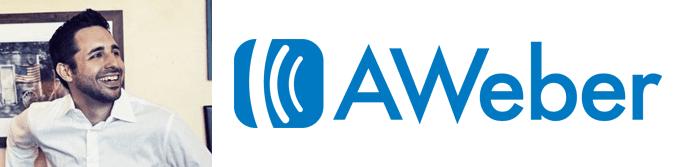 Tom Tate's headshot and the AWeber logo