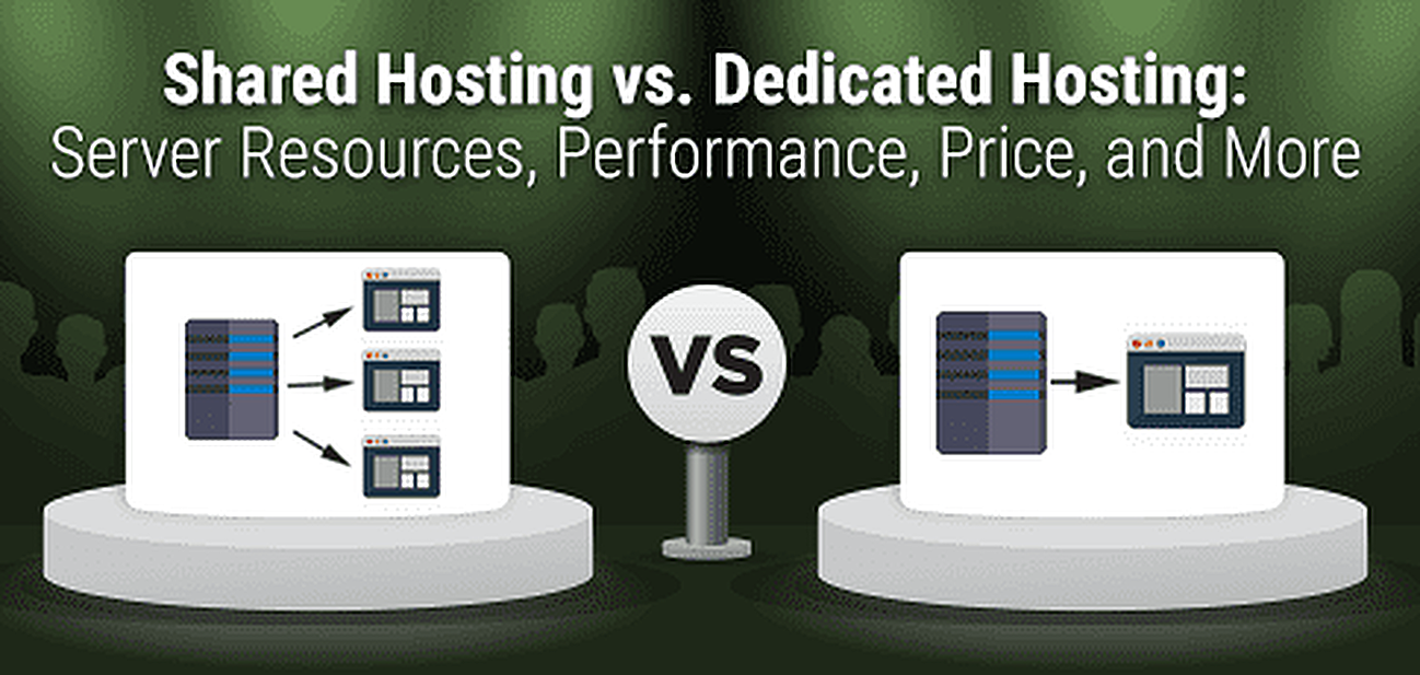 Shared vs. Dedicated Hosting Graphic