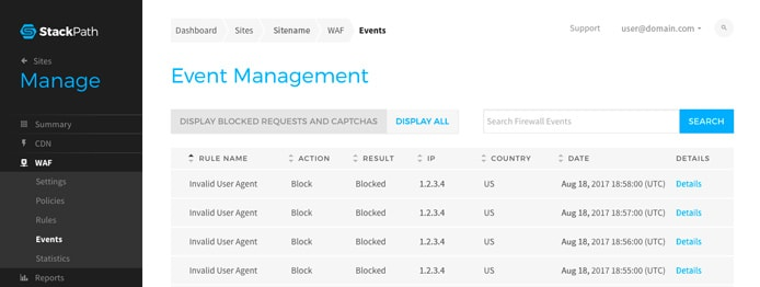 Screenshot of the StackPath web application firewall user interface