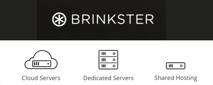 Brinkster logo and images depicting cloud, dedicated server, and shared hosting services