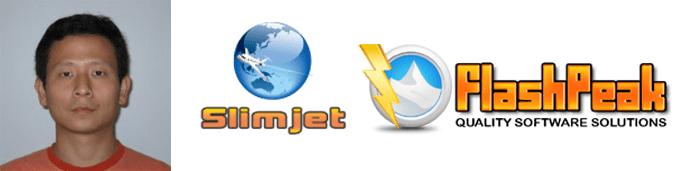 Stephen Cheng's headshot and the Slimjet and FlashPeak logos