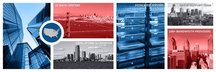 Photo collage of Colocation America's datacenter locations and dedicated servers