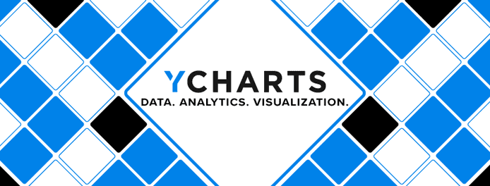 "YCharts logo over a checkered background and text reading ""Data. Analytics. Visualization."""