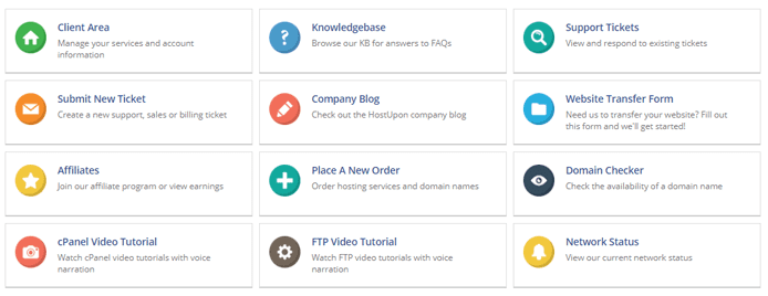 Graphic depicting HostUpon's different customer support channels