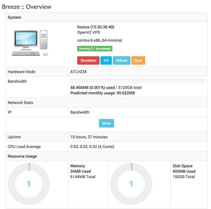 Screenshot of the Breeze UI