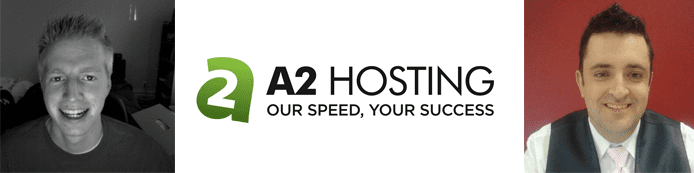 Corey Hammond and Christopher Sweeney's headshots and the A2 Hosting logo