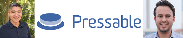 Rob Villarreal and Jeff Mulholland's headshots and the Pressable logo