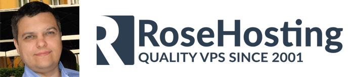 Bobi Ruzinov's headshot and the RoseHosting logo