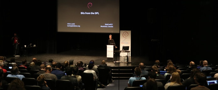 Debian Project Leader Chris Lamb speaking at DebConf