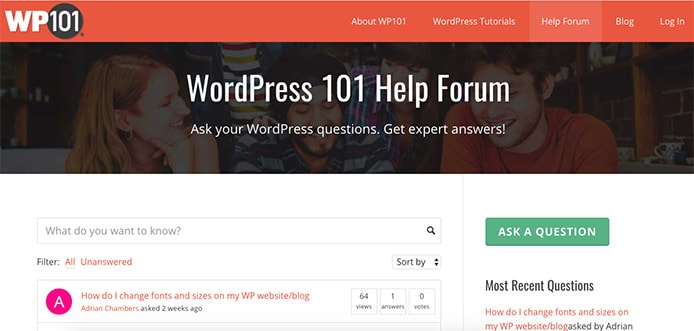 Screenshot of WP101 forum