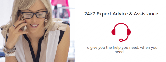 Photo of a woman on the phone and a headset graphic and text noting Web Hosting Canada's 24/7 support