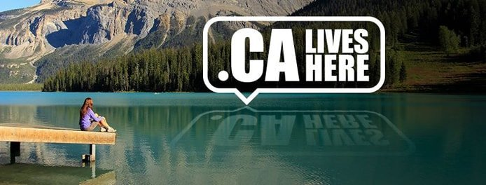 "Photo of a woman sitting on a dock looking out at a mountain-top lake and the text "".CA LIVES HERE"""